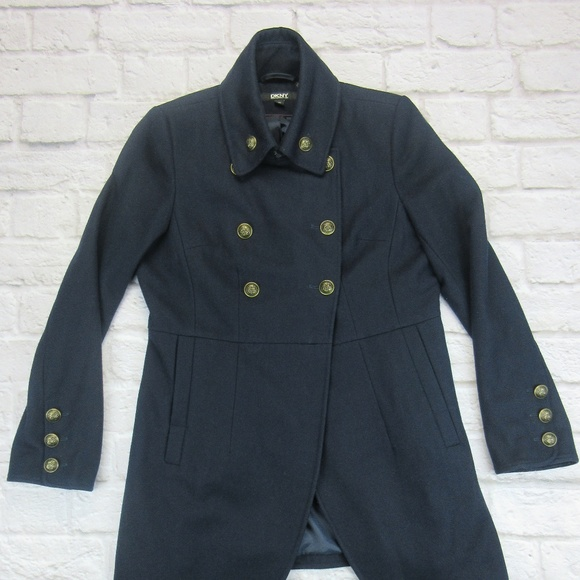 DKNY Flare Military Peacoat Brass Buttons Sz 12